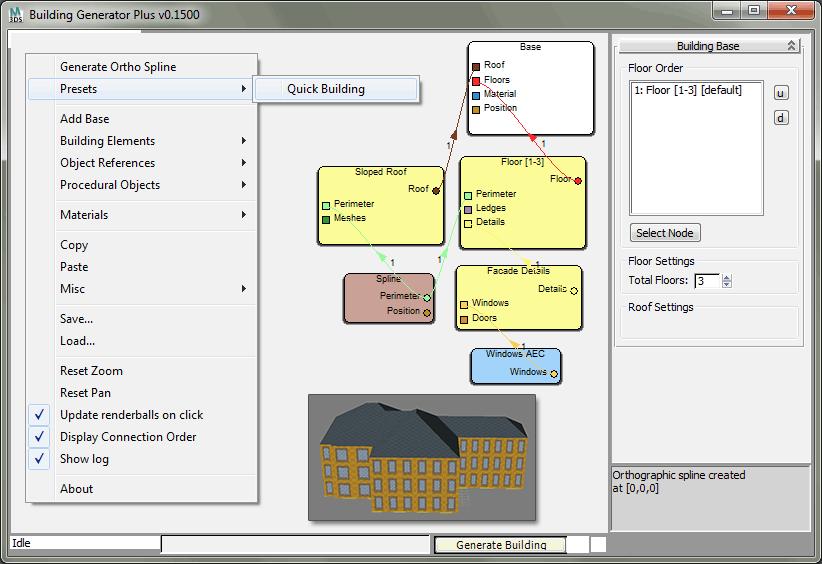 Окно нодовой структуры генератора зданий BG+