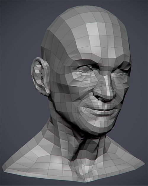Сетка головы 3D модели Джокера